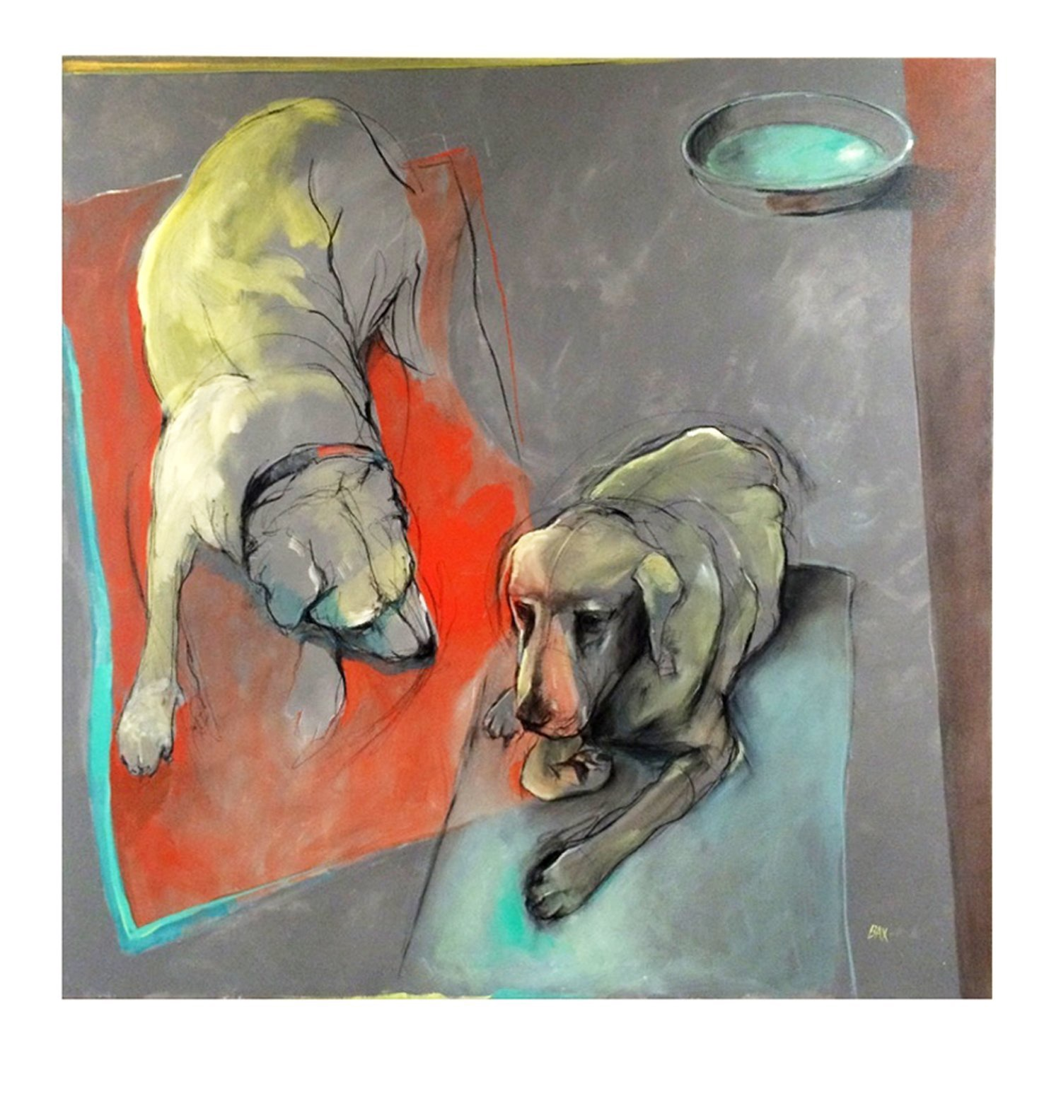 Two Dogs One Bowl - Oil and Charcoal on Canvas