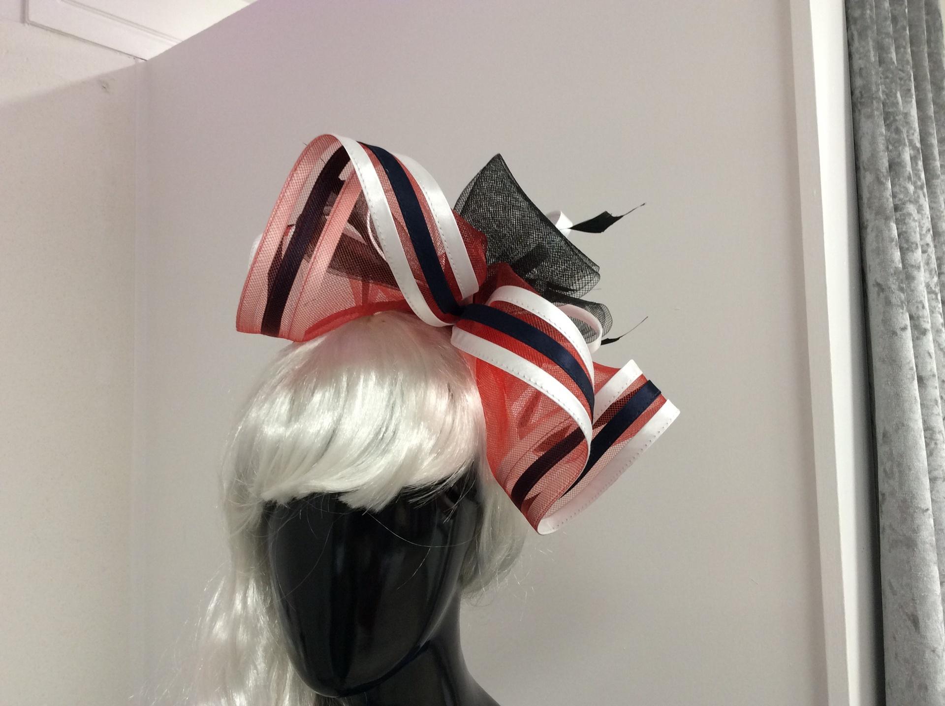 Navy/red/black/white stunning headpiece