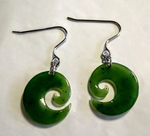 Greenstone Koru Earrings