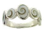 Ring Cats Eye Spiral Mixed Shapes Stg Silver Small