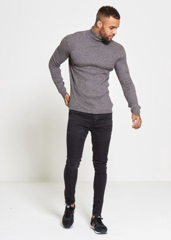 Menswear Knitted Roll Neck Charcoal Jumper