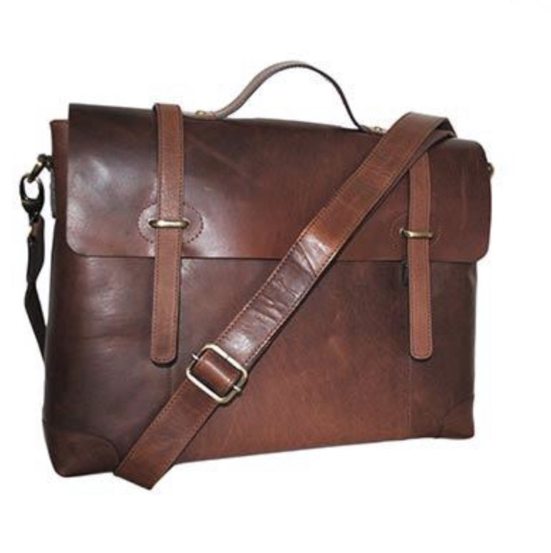 Duncan Leather Twin Strap Satchel