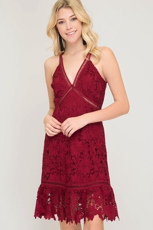 Fit & Flare Wine V-Neck Dress