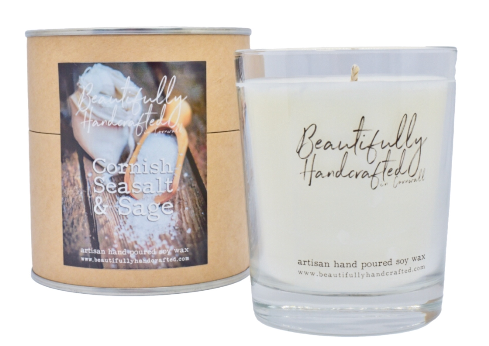 Beautifully Hand Crafted Cornish Seasalt & Sage Jar Candle