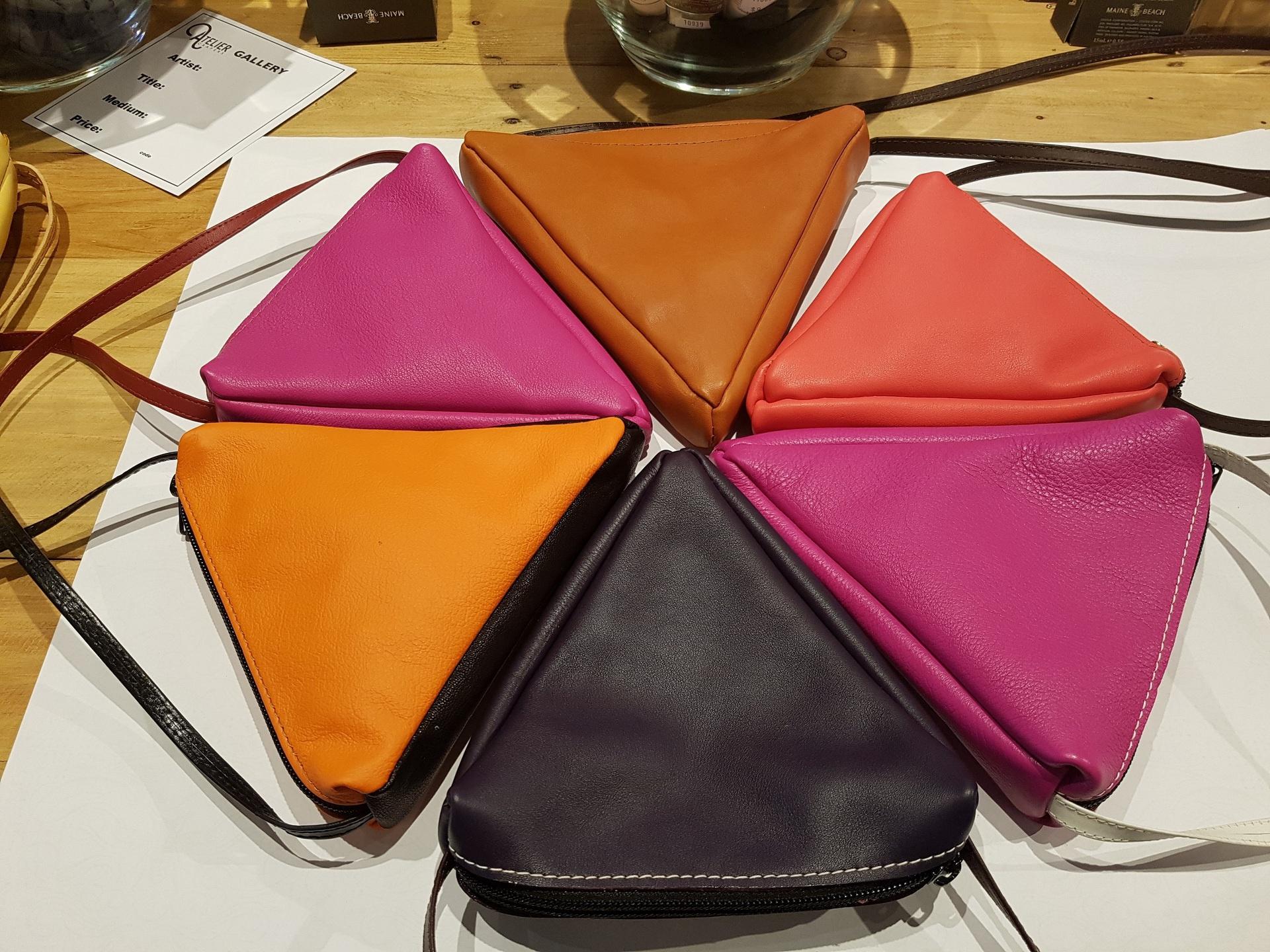 Orange and Black Italian Leather Triangle Shoulder Bag