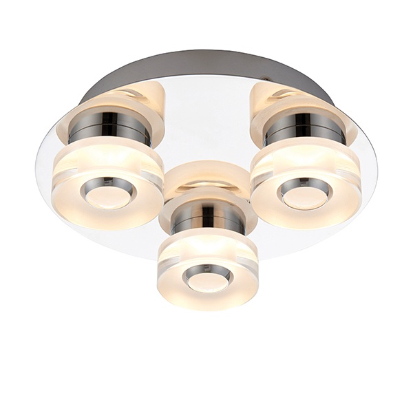Rita 3lt flush IP44 4.5W & 0.45W SW warm white - chrome plate