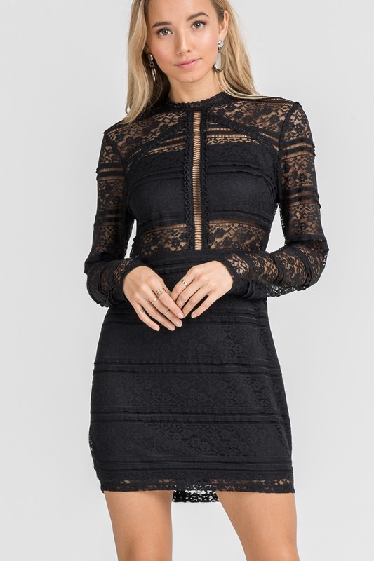 L/S Fitted Blk Lace Dress