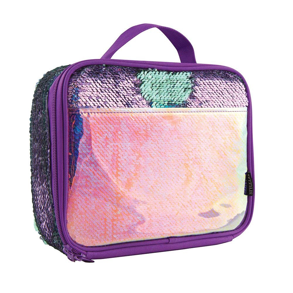 LUNCH TOTE PURPLE SEQUIN