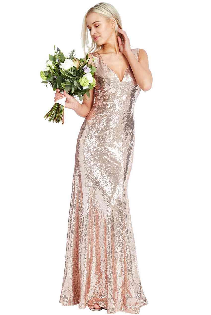 Champagne sequinned V neck floor length dress