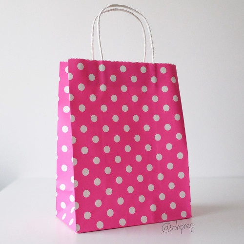 FUSCHIA POLKA DOTS MED BAG