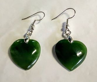Greenstone Heart Drop Earrings 20mm