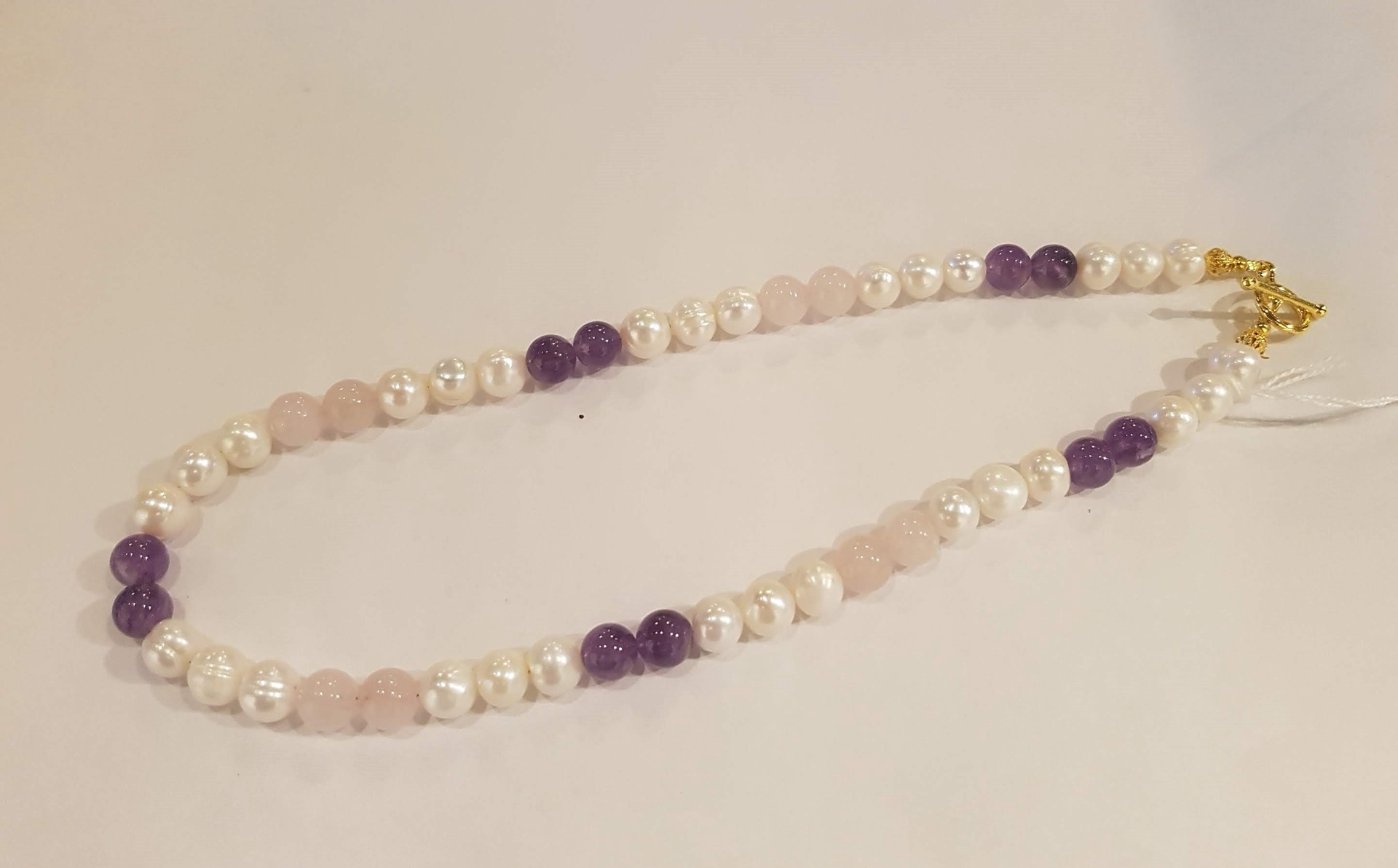 Fresh Water Pearl, Rose Quartz and Amethyst Necklace