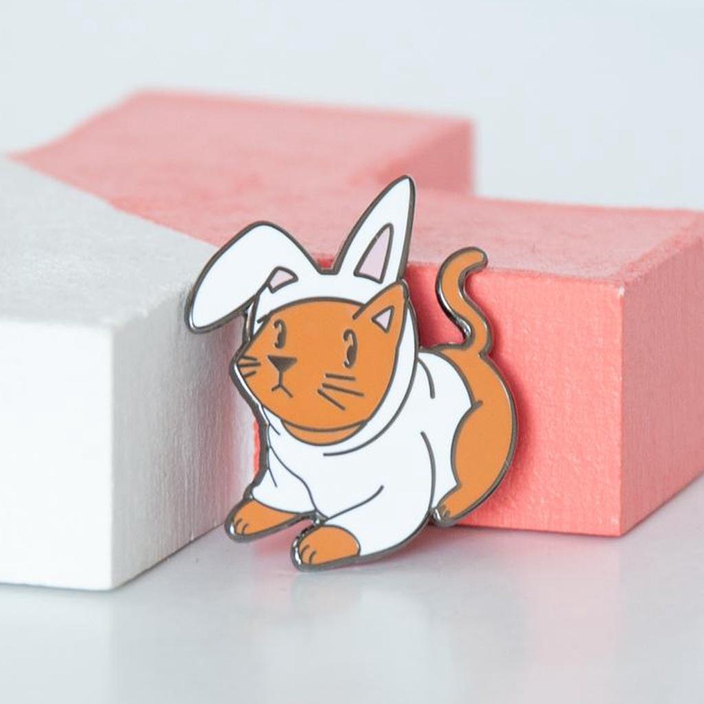 Cat Bunny Costume Enamel Pin