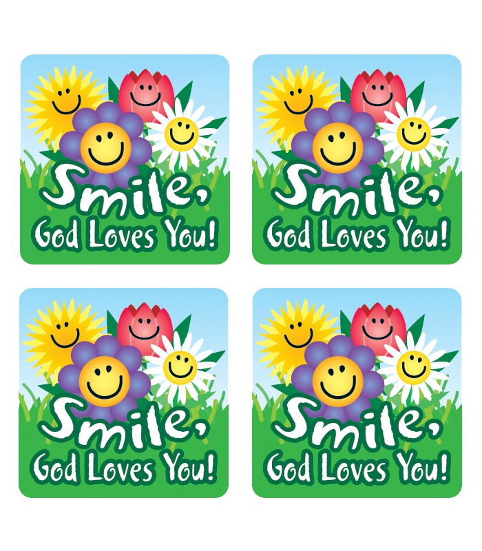 CD 0667 MOTIVATIONAL STICKERS SMILE, GOD LOVES YOU 120CT