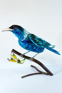 light blue tin tui on a branch