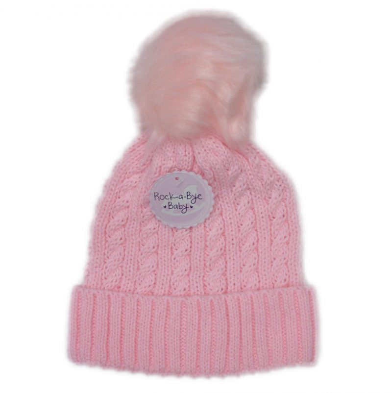 Baby Girls Cable Knit Pom-Pom Hat (6-24 Months)