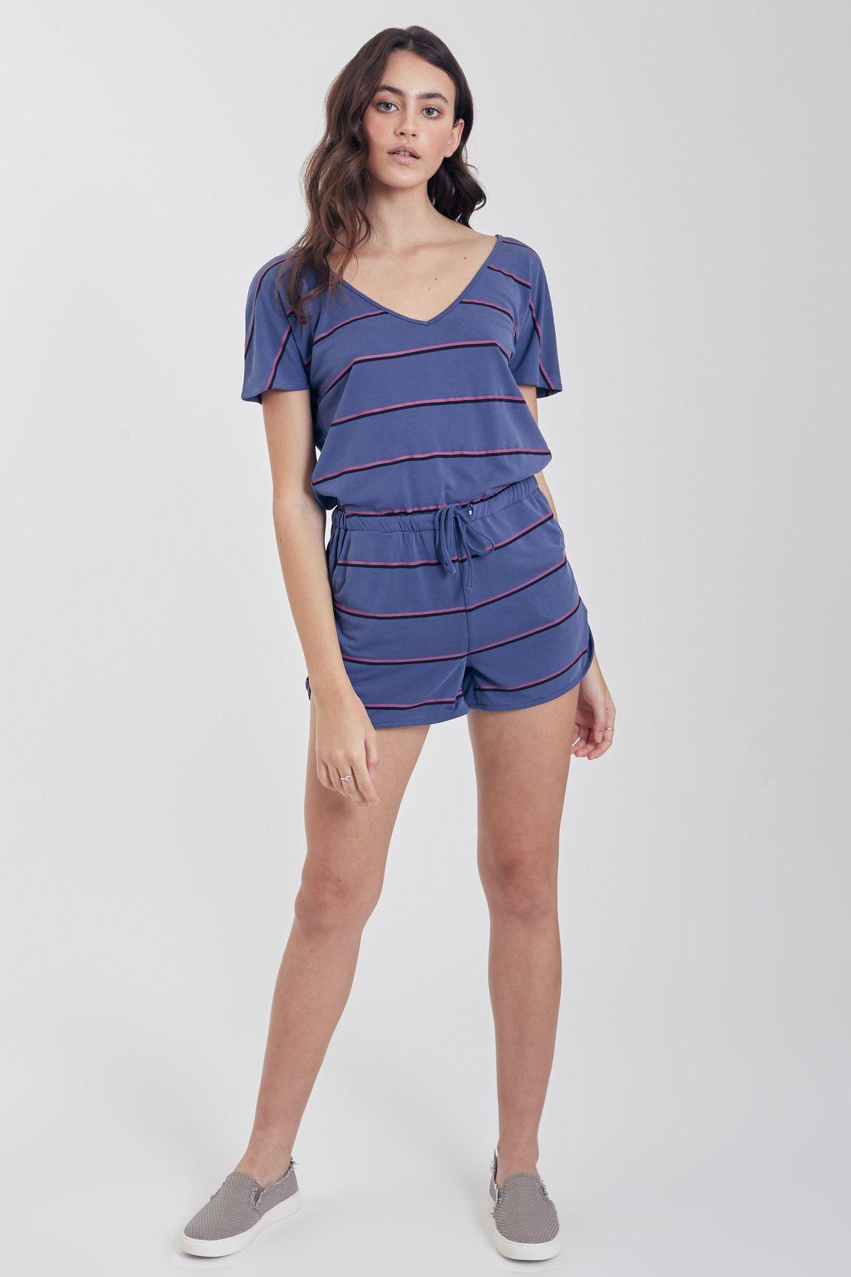 Denim/Magenta Stripe Casual Romper