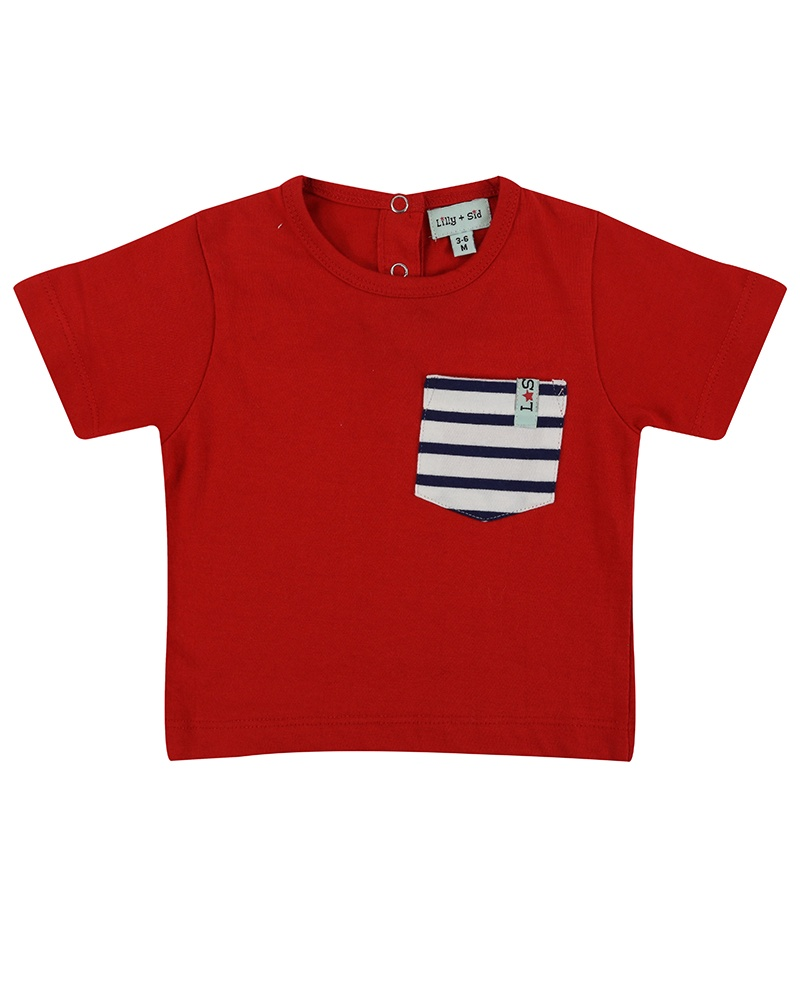 Lilly & Sid CLASSIC POCKET T- RED