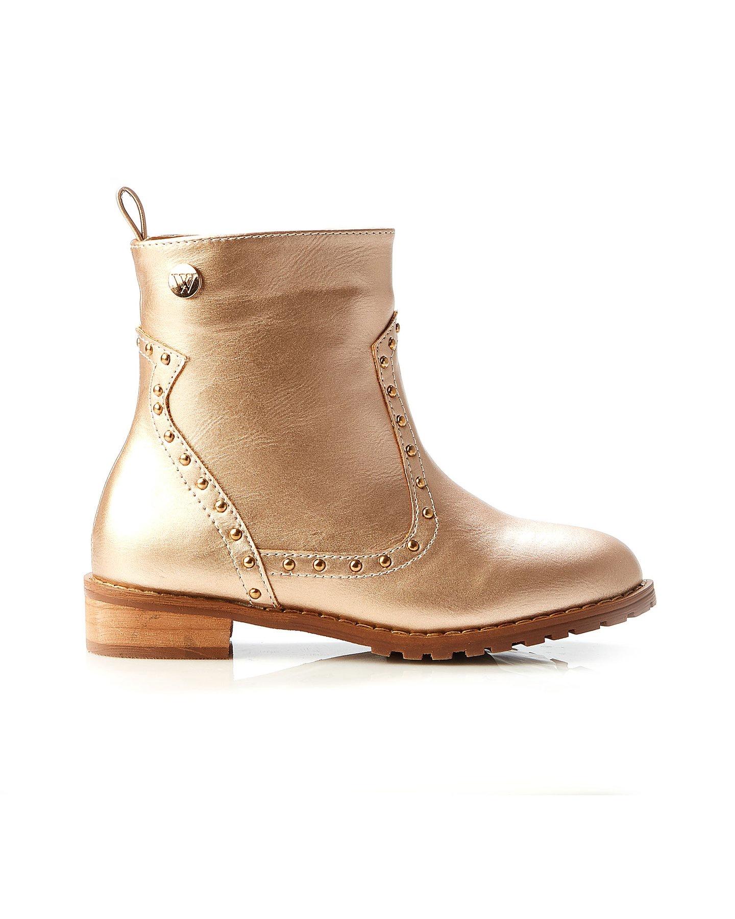 Walnut Kaz Stud Boot Rose Gold