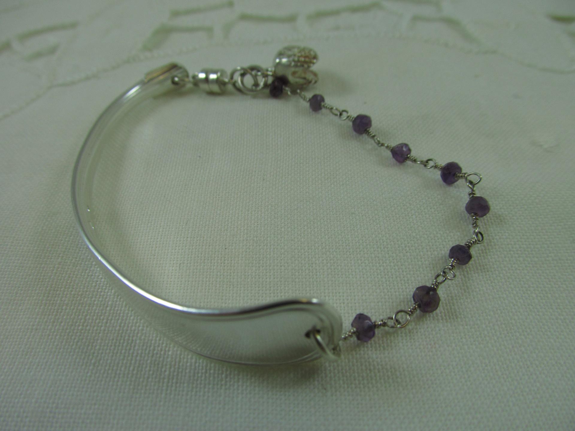 Danish Silver and amethyst spoon bracelet