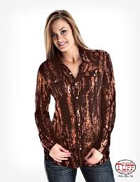 4292ea476 Cowgirl Tuff Women's Shirt Brown With Copper CLEARANCE!! | Pakenham ...