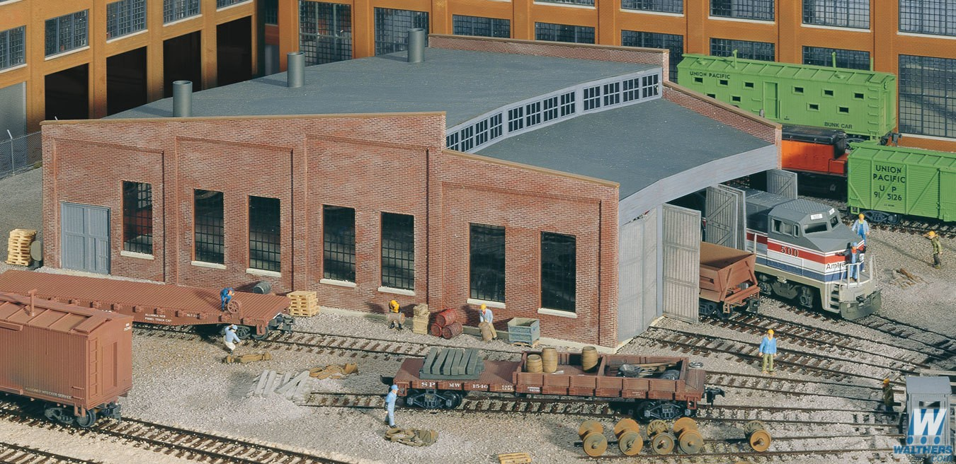 Walthers Cornerstone # 933-3041 HO Three Stall Roundhouse Kit