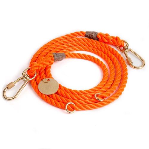 Rescue Orange Adjustable Rope Dog Leash | Large