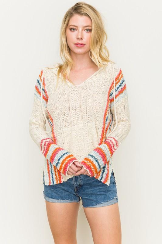 Cream Multi Stripe Beach Pullover