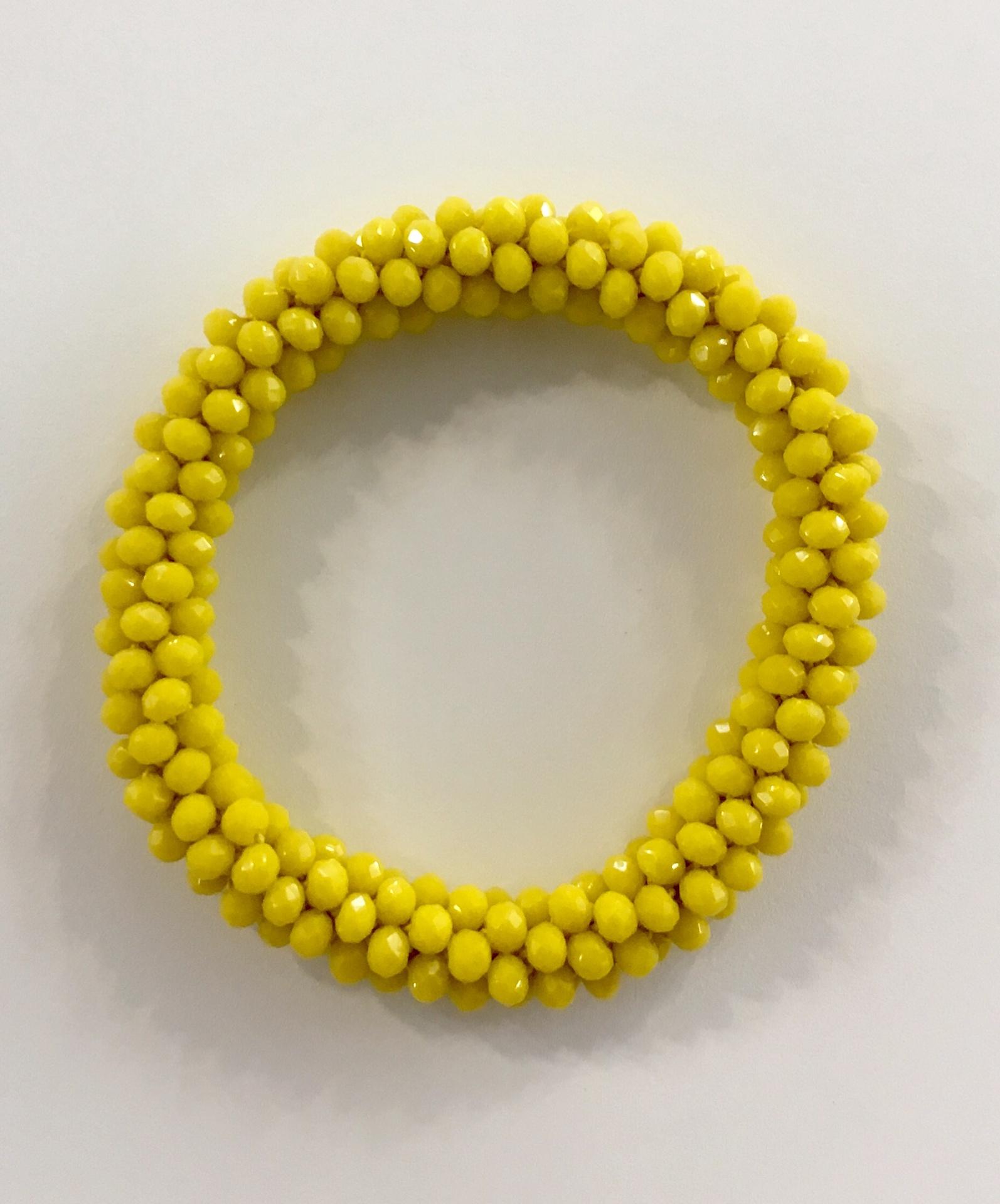 Yellow beaded crochet bracelet