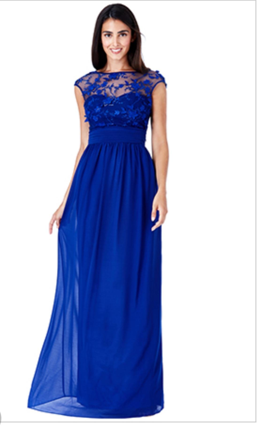 Blue floral chiffon floor length dress