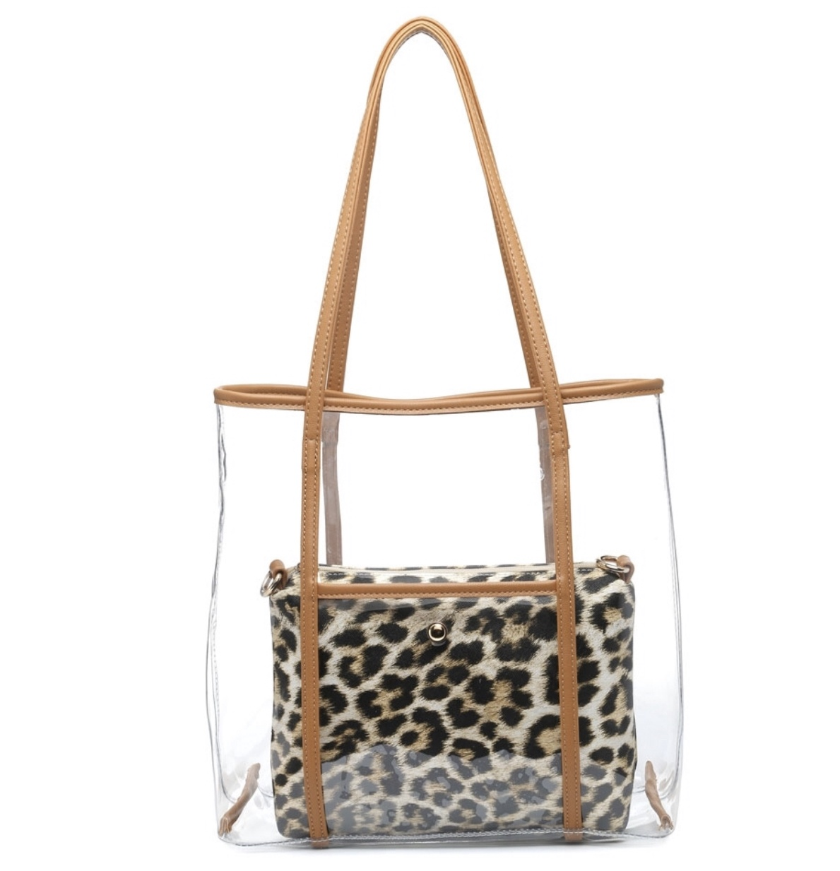 Lisa Large Clear Tote bag with Animal print pouch