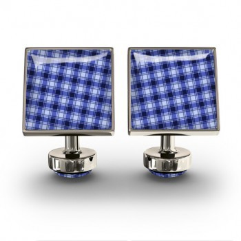 WURKIN STIFFS - SQUARE CUFFLINKS IN GINGHAM BLUE