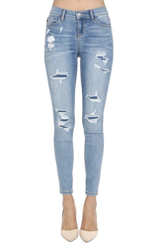 Distressed Patch Skinny Jeans