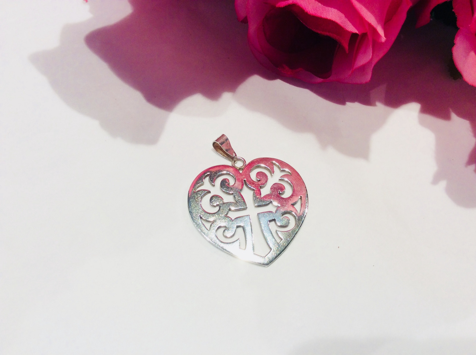 Sterling Silver Celtic Heart Pendant with Cross cutout