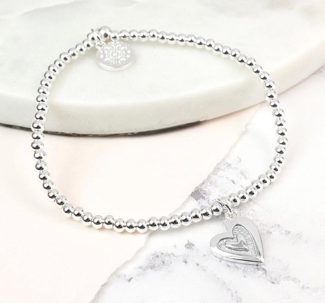 Silver plated bead and grey enamel heart bracelet