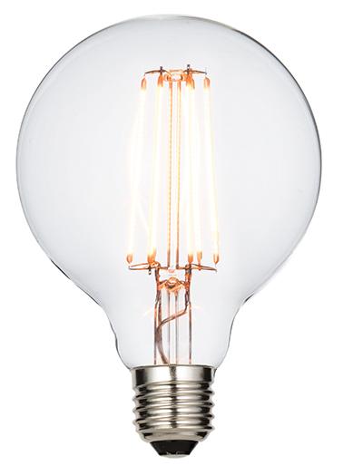 E27 LED filament globe 95mm 6W warm white accessory - clear glass