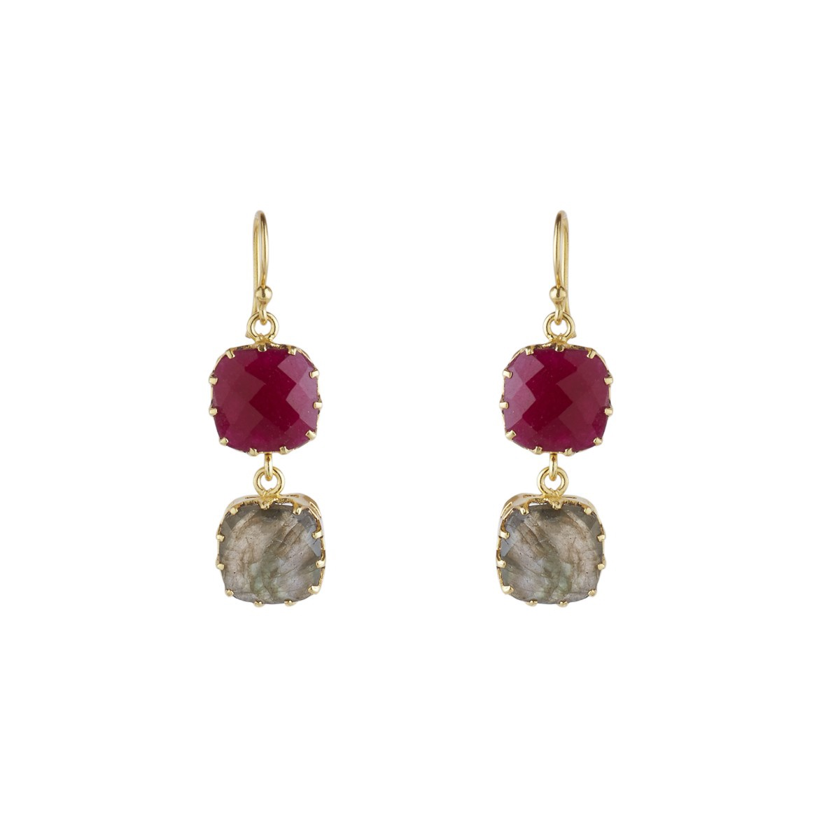 Gemini Two Gemstone Earrings by Ashiana London