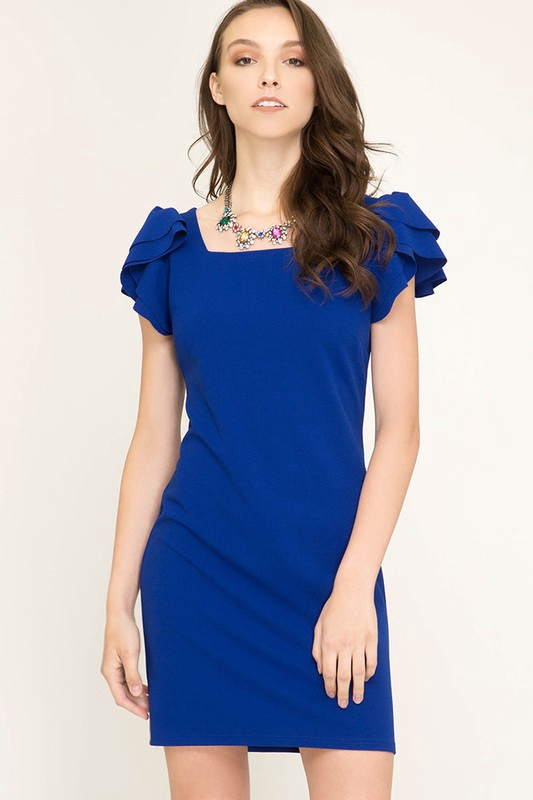 Royal Sqr Neck Fitted Dress w Ruffle on Slvs