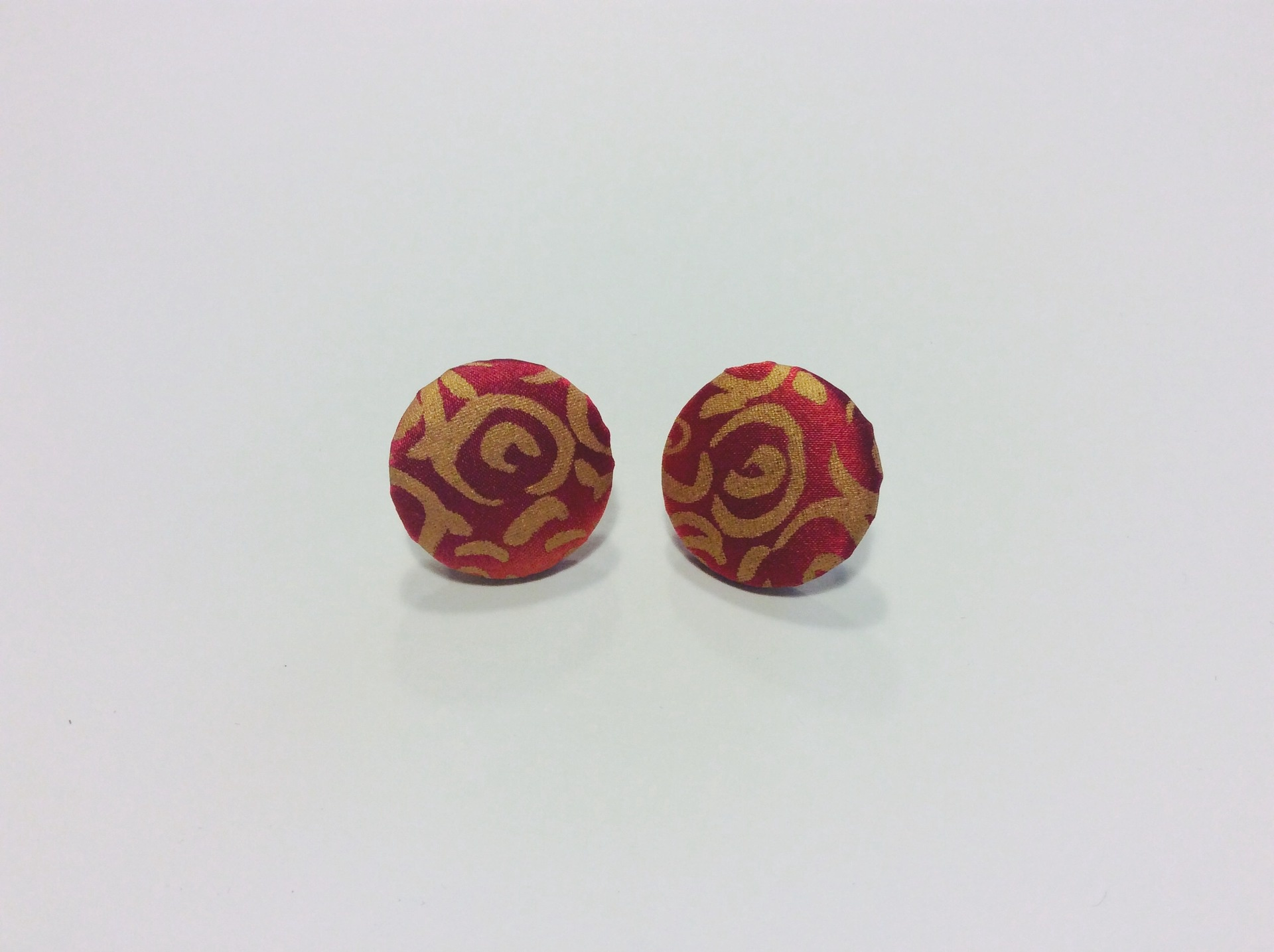 Red and gold hand painted silk round stud earrings