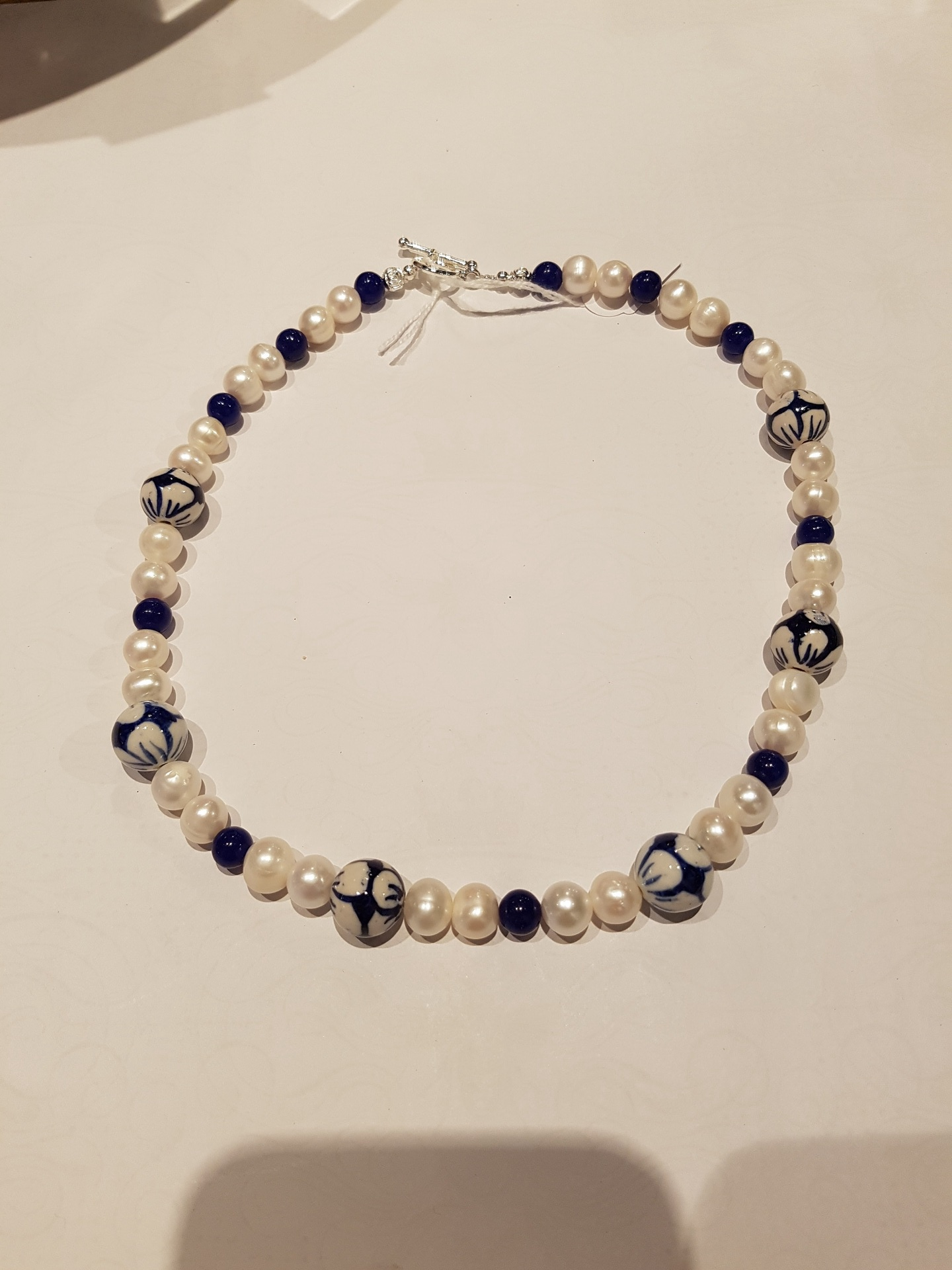 Fresh Water Pearl Necklace with  Blue and White Focal Beads