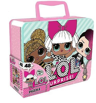 LOL LARGE LUNCH TIN BOX WITH 48PC PUZZLE INSIDE