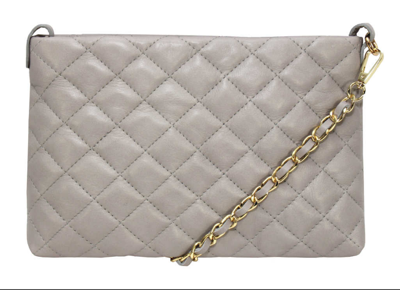 Leather Quilted Clutch Bag
