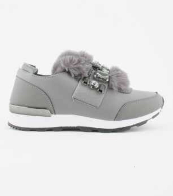 Grey Faux Fur Trainer 125-12
