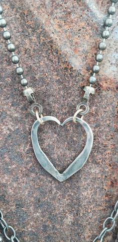 RA Fork Tine Heart on Ball Chain