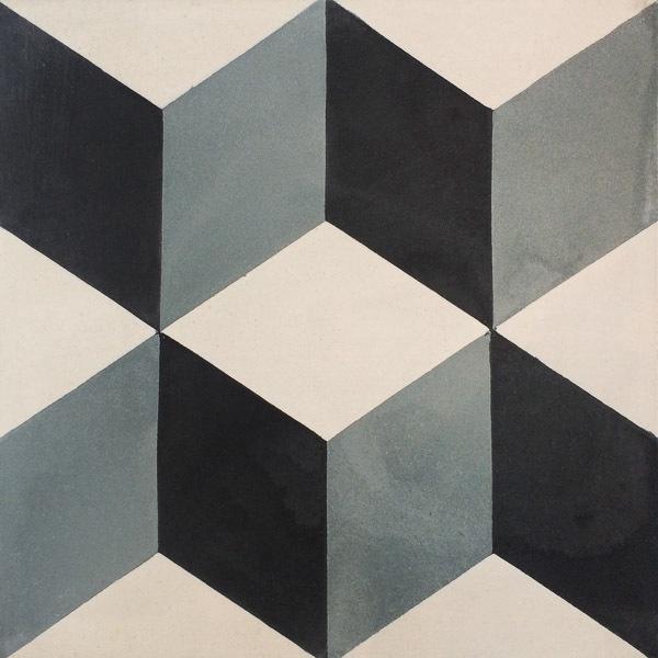 Handmade Tile | 3D Blue Grey Blocks