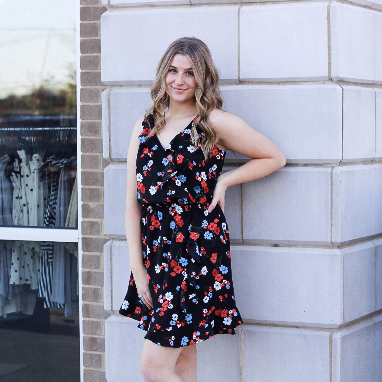 Blk/Blu/Red Ruffle Floral Dress