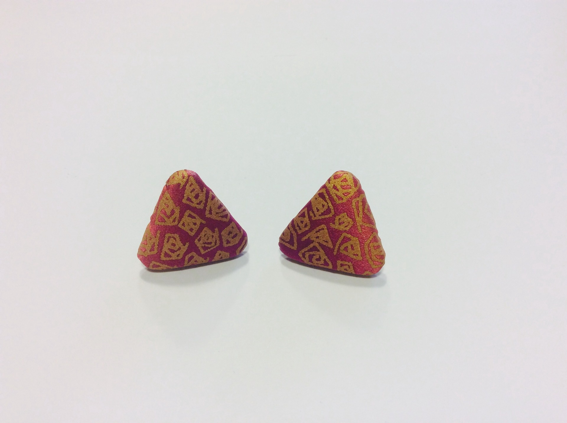 Pink and gold hand painted silk triangular stud earrings