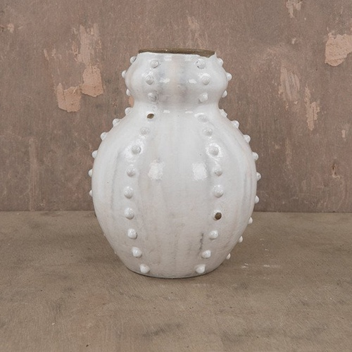 White Cloudy Sea Urchin Vase