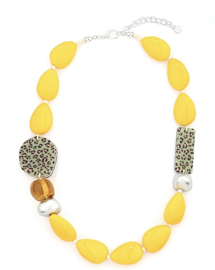 Yellow & Leopard Print Chunky Necklace