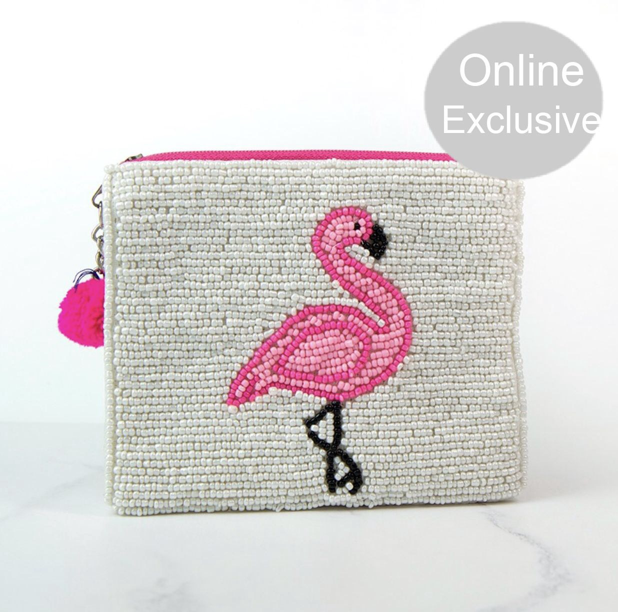 White embellished purse with beaded pink flamingo & pom pom